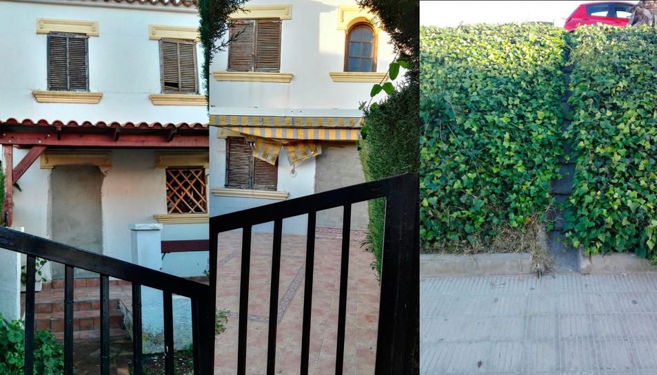 Imatge de les dues portes d'entrada, per carrer i per la zona comunitària, de l'habitatge.