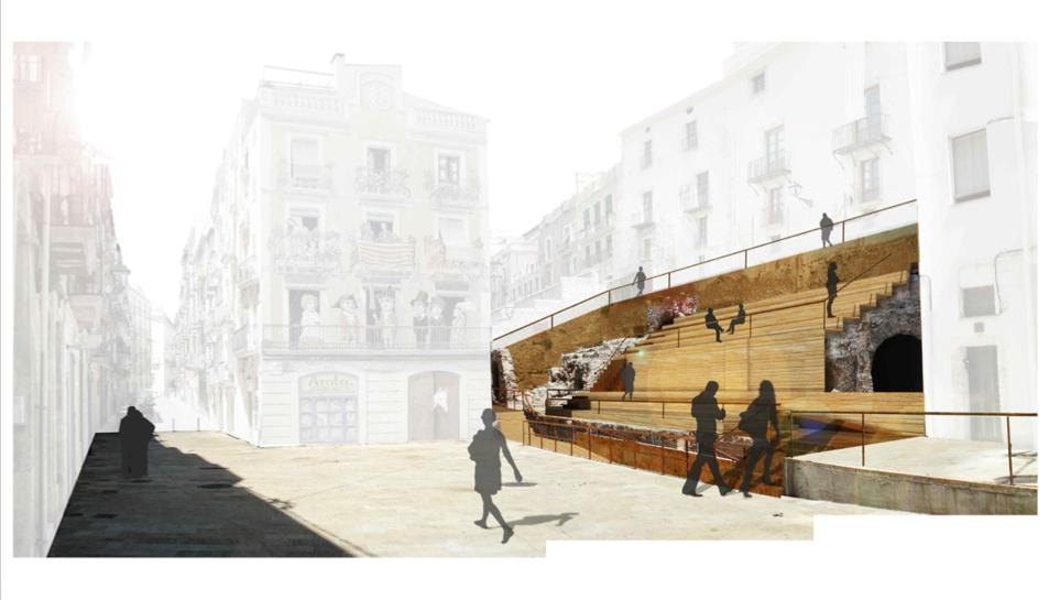 Imatge del projecte elaborat per l'arquitecte, que mostra la recuperació de les grades.