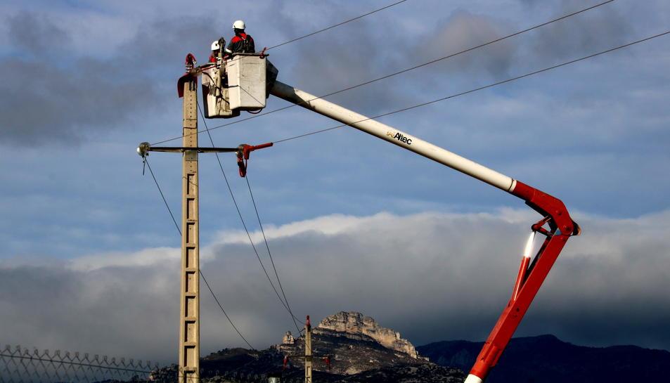 Operaris d'Endesa instal·lant les produccions en un suport de la línia pròxima a l'abocador de Mas de Barberans.