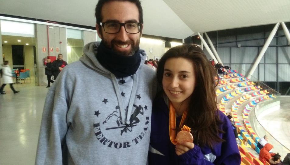 L'Alícia, amb el seu entrenador, Ferran Tortosa.