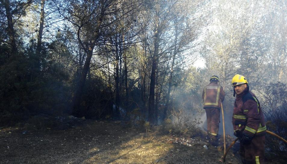 Efectius del cos de bombers apagant el foc, aquest dimecres al matí.
