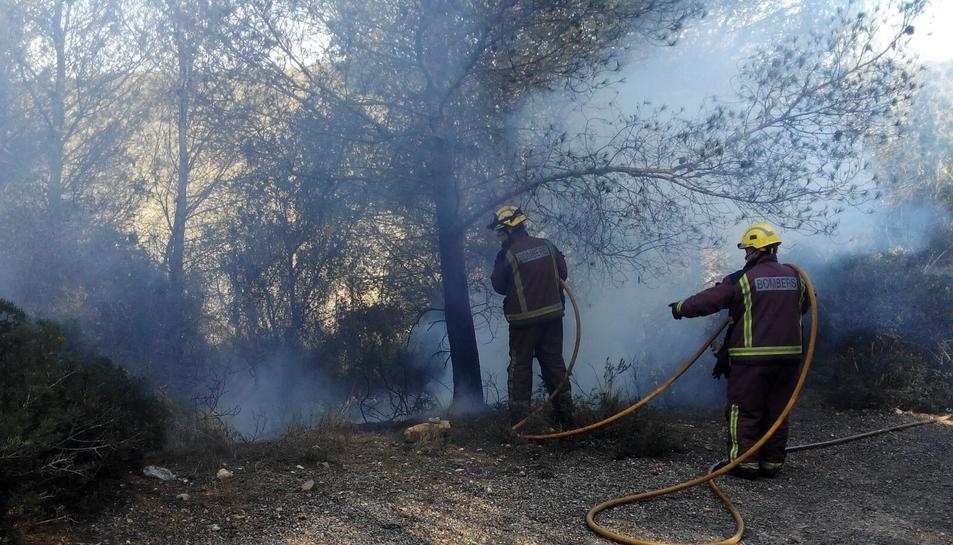 Dos agents apagant el foc a Sant Pere i Sant Pau.