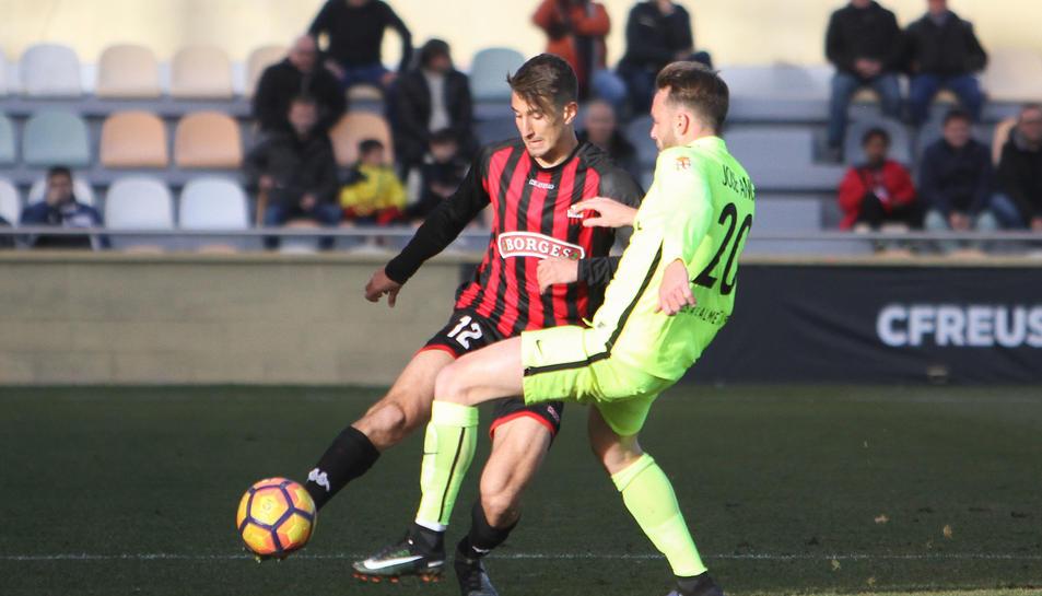 Joan Campins, en un instante del partido del domingo pasado contra la Almería.