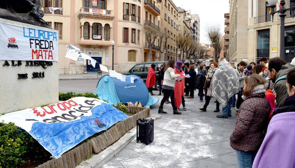 En l'acte s'ha simulat la situació als camps de refugiats.