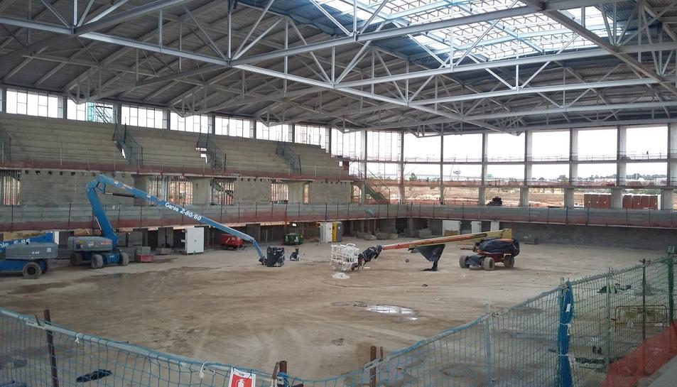 Imatge de l'estat actual del Palau d'Esports de l'Anella Mediterrània.