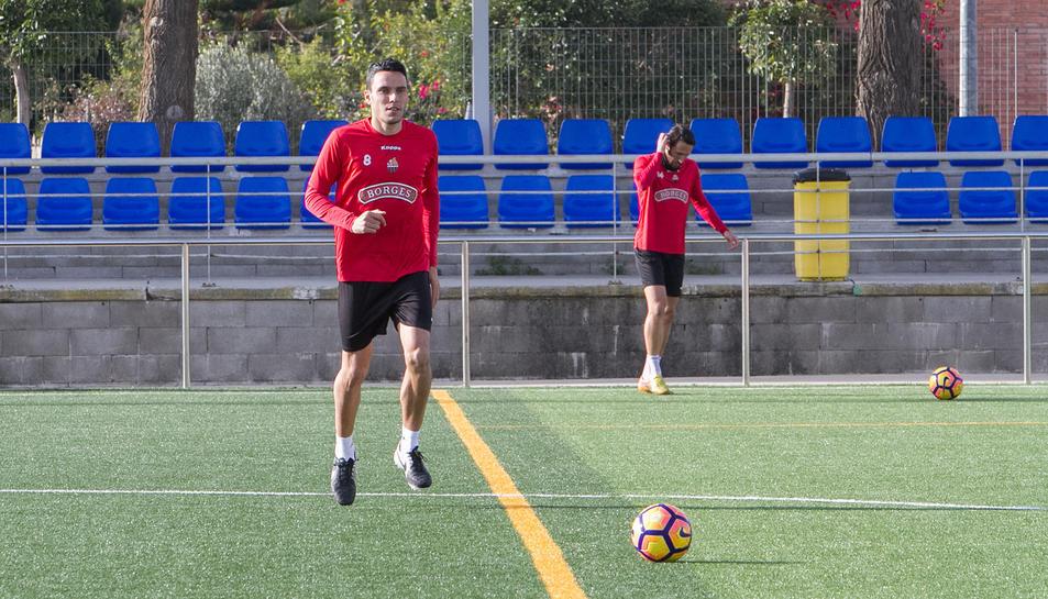 Ramon Folchdurant un dels entrenaments d'aquesta temporada, al verd de Riudoms.