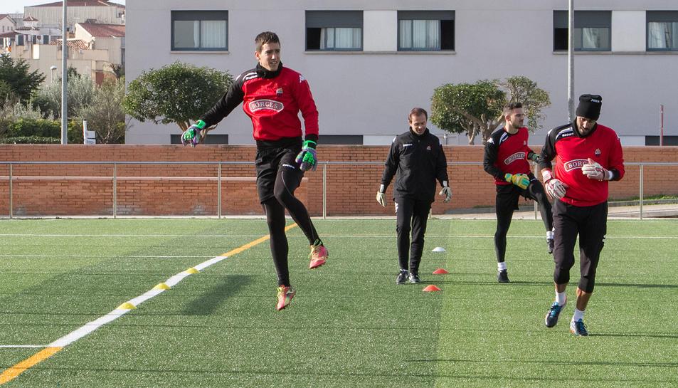 Edgar Badiadurant un dels entrenaments d'aquesta temporada, al verd de Riudoms.