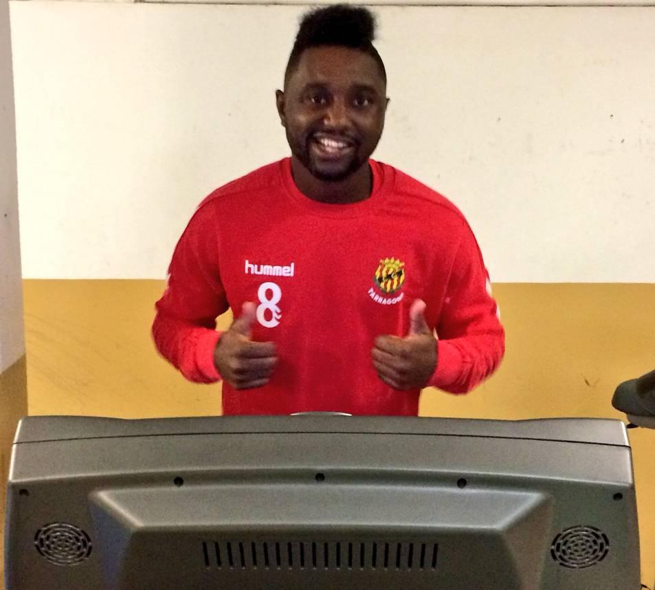 El jugador, exercitant-se al gimnàs del Nou Estadi.