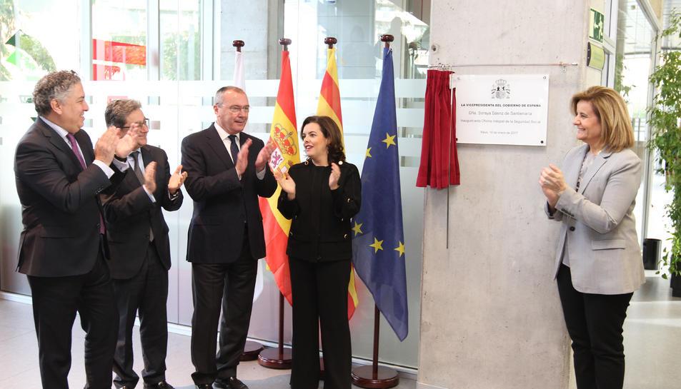 La vicepresidenta, durant la inauguració.