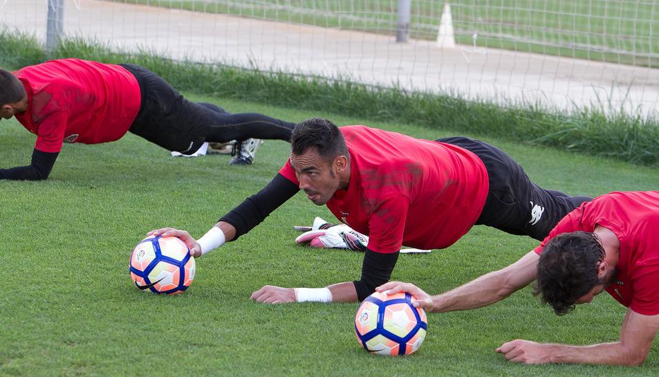 El porter del CF Reus, durant un entrenament-