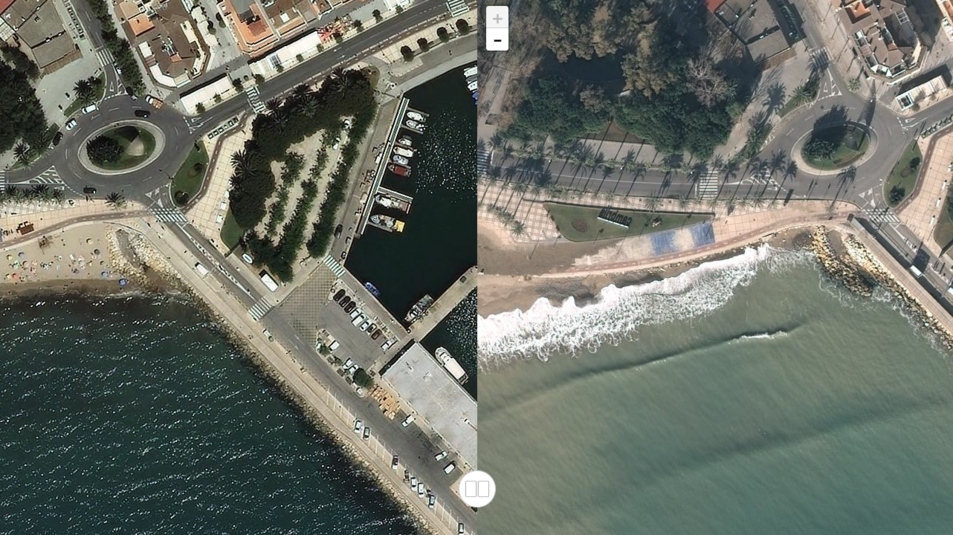 La platja de la Riera de Cambrils l'any 2015, a l'esquerra, i durant el dia 24, a la dreta, quan estava pràcticament desapareguda.