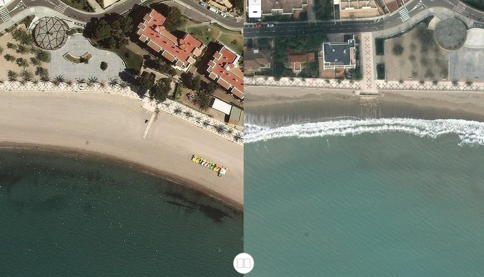 La platja de l'Arenal de l'Hospitalet de l'Infant també va acabar inundada d'aigua.