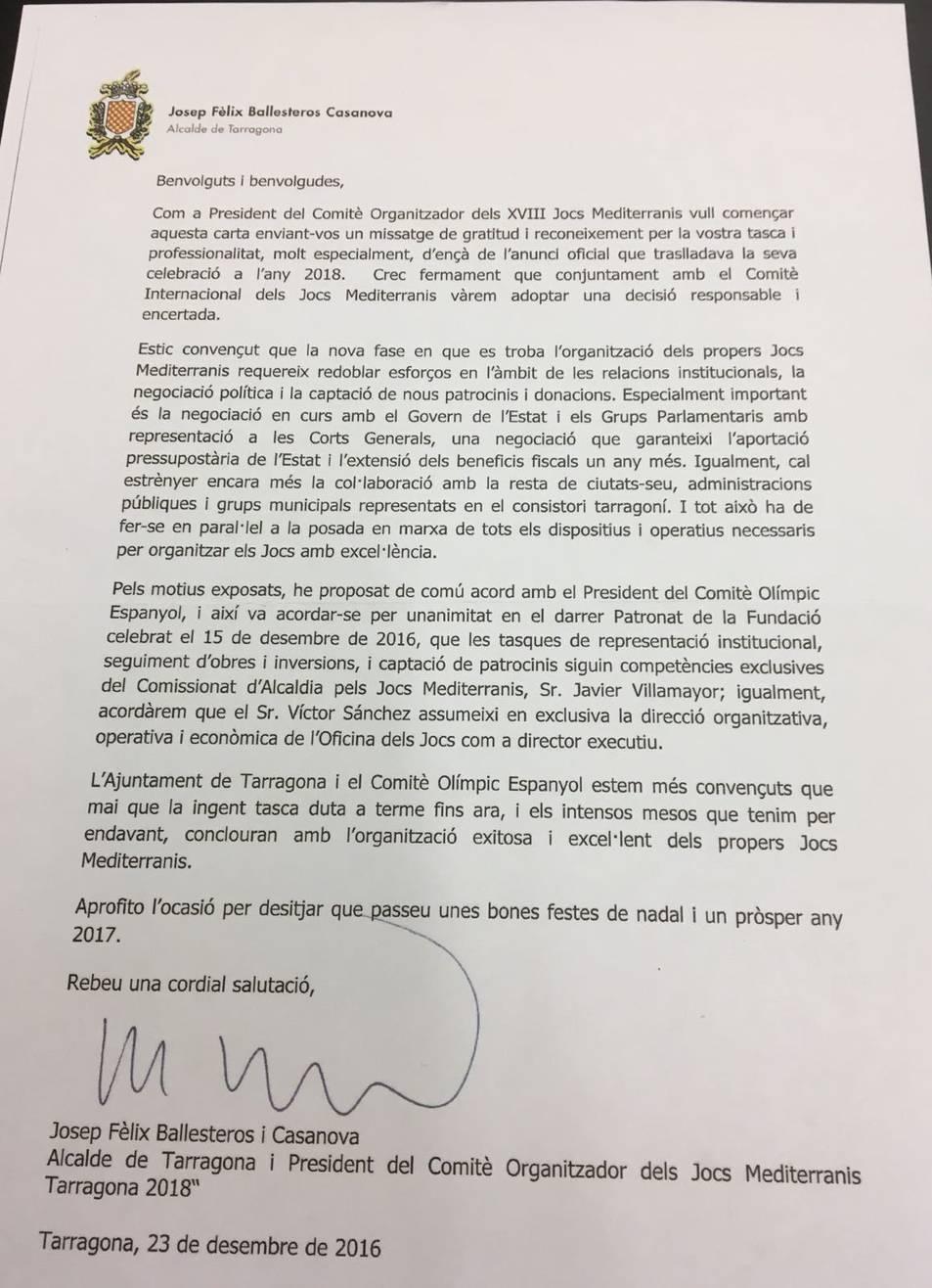 La carta que Ballesteros va enviar als treballadors.