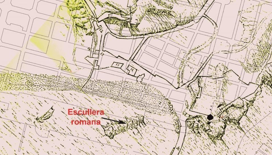 Plànol del port de Tarragona de l'any 1640, amb la referència cadastral actual.