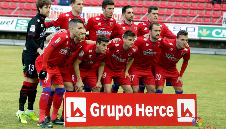 L'equip del Numància en la passada jornada de lliga, quan es va enfrontar al CF Reus.