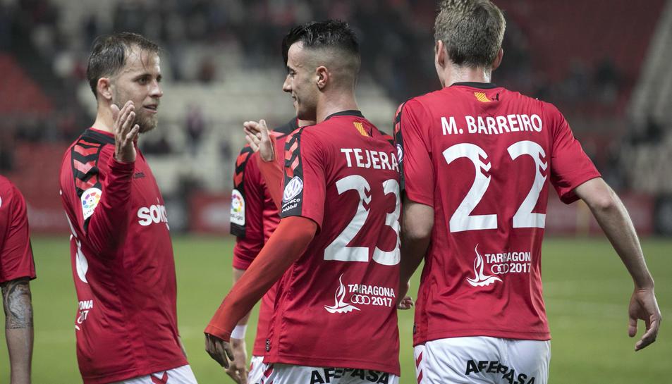 Cordero, celebrant el gol contra el Numància.
