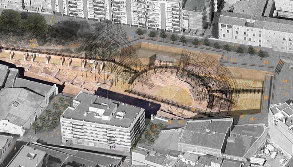 Càvea metàl·lica que el projecte de recuperació del Teatre romà preveu construir damunt les restes.
