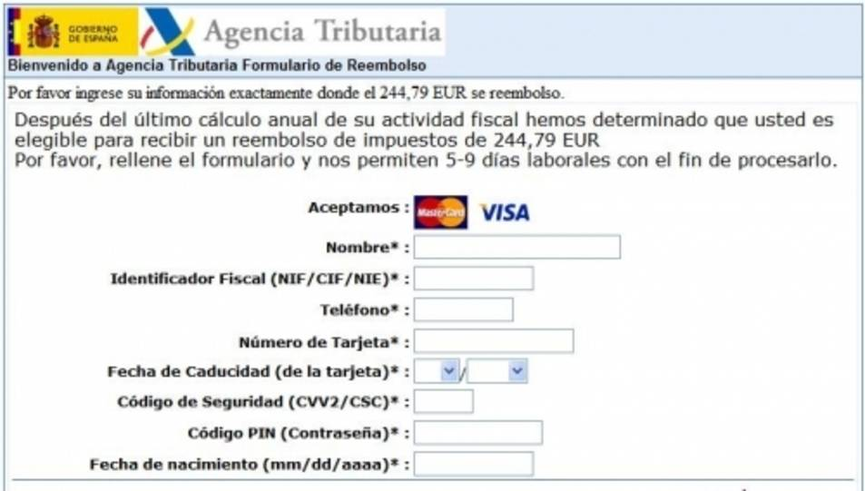 Una captura de la pàgina web fraudulenta.