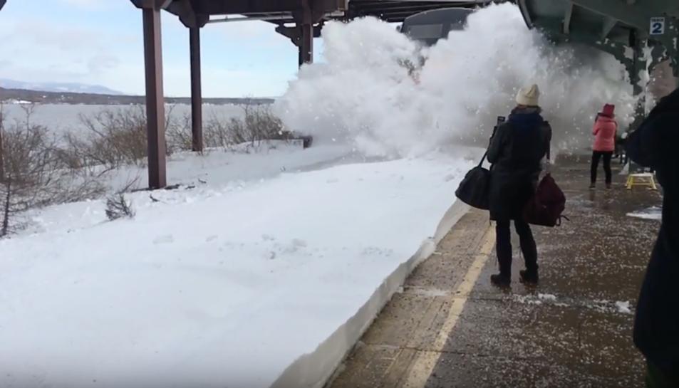 Imatge de l'arribada del tren a l'estació.