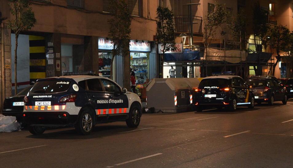 Un dels cotxes de Mossos d'Esquadra i un altre de la Policia Nacional durant les inspeccions.
