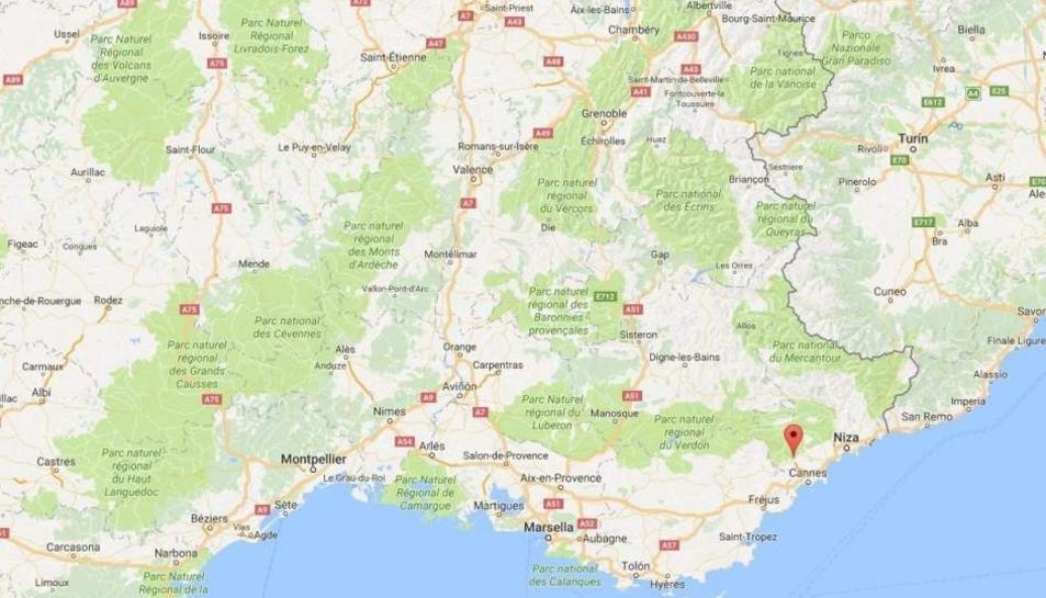 Ubicació de la ciutat de Grasse, al sud de França.
