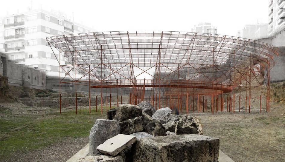 Càvea metàl·lica de grans proporcions que s'instal·larà damunt les restes del Teatre.