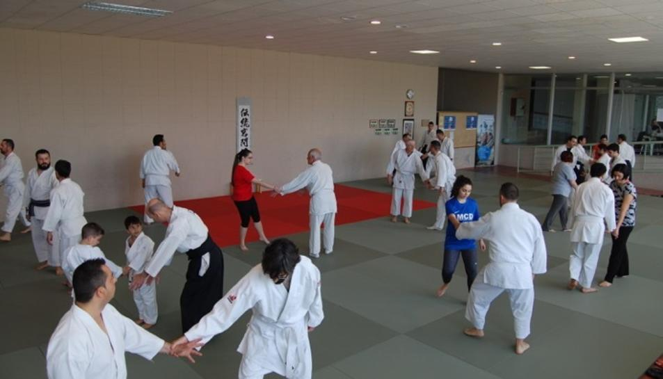 Els participants mentre practiquen Aikido.