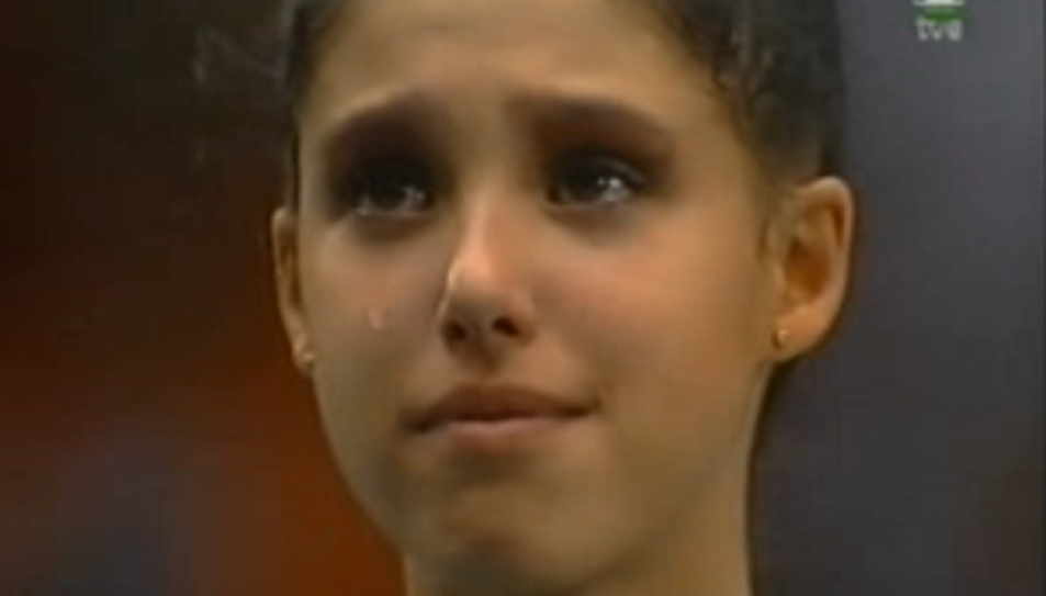 La gimnasta Tania Lamarca en guanyar l'or el 1996.