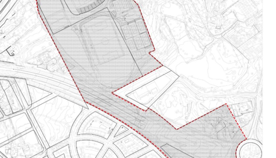 El perfil defineix la zona de l'entorn del Nou Estadi on es contruiran els 520 habitatges.
