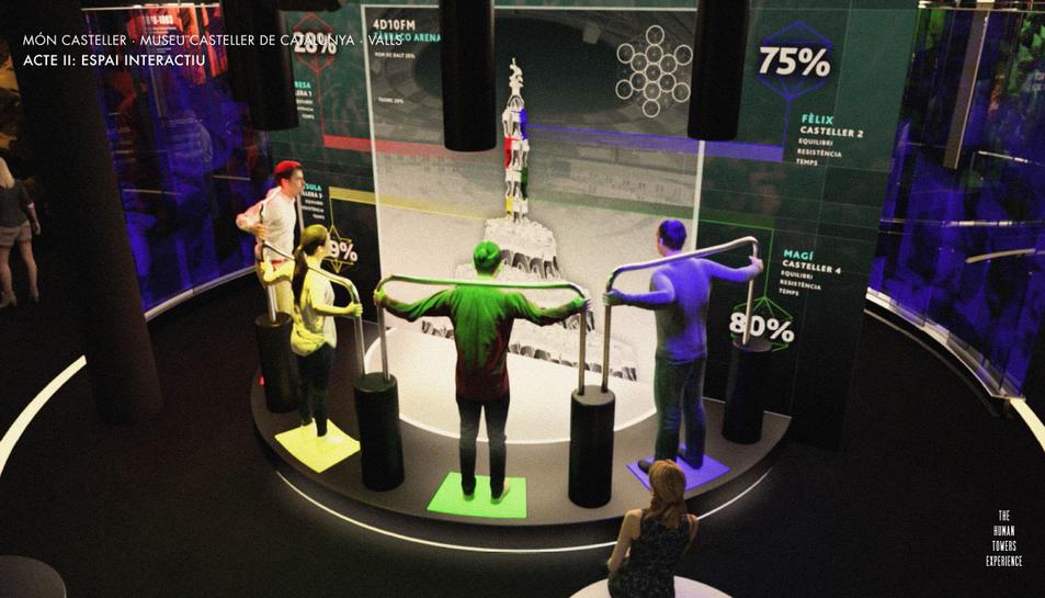 Imatge virtual d'un dels espais d'interacció del futur Museu Casteller.