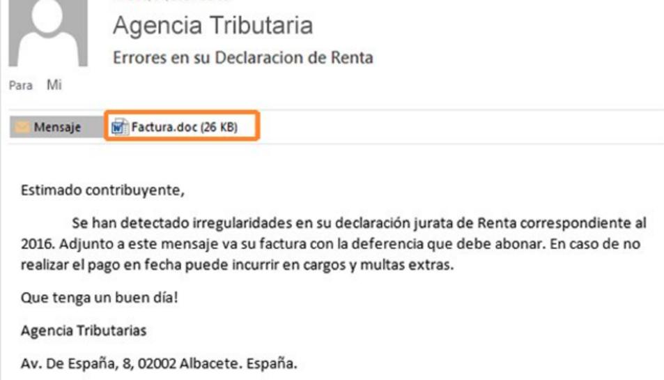 Els usuaris no han d'obrir en cap cas l'arxiu anomenat 'Factura.doc