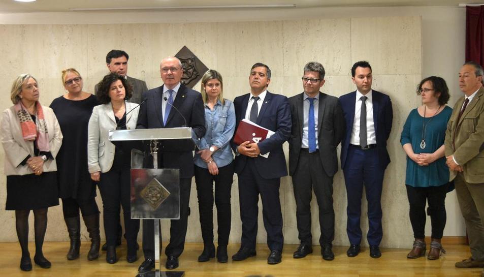 Foto de la roda de premsa del Govern.