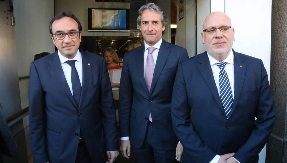 Els consellers Rull i Baiget i el ministre De la Serna, a l'acte de la Mesa del Corredor Mediterrani, al Centre Blanquerna de Madrid.
