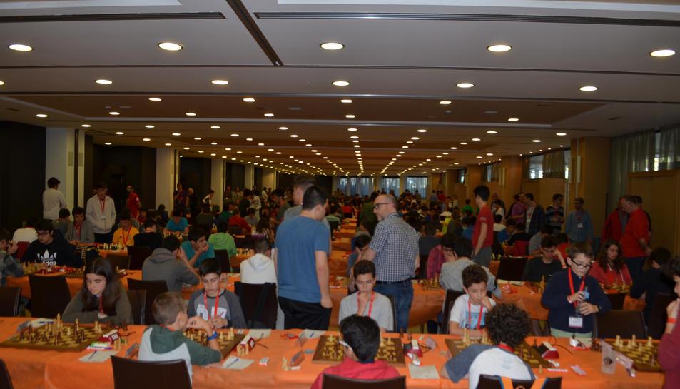 Imatge del Campionat de Catalunya d'Escacs, que se celebra a la Pineda del 8 al 13 d'abril.
