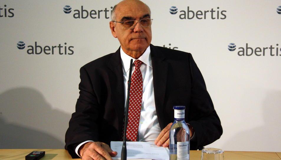 El president d'Abertis, Salvador Alemany, durant la roda de premsa prèvia a la Junta General d'Accionistes del 12 d'abril de 2016.