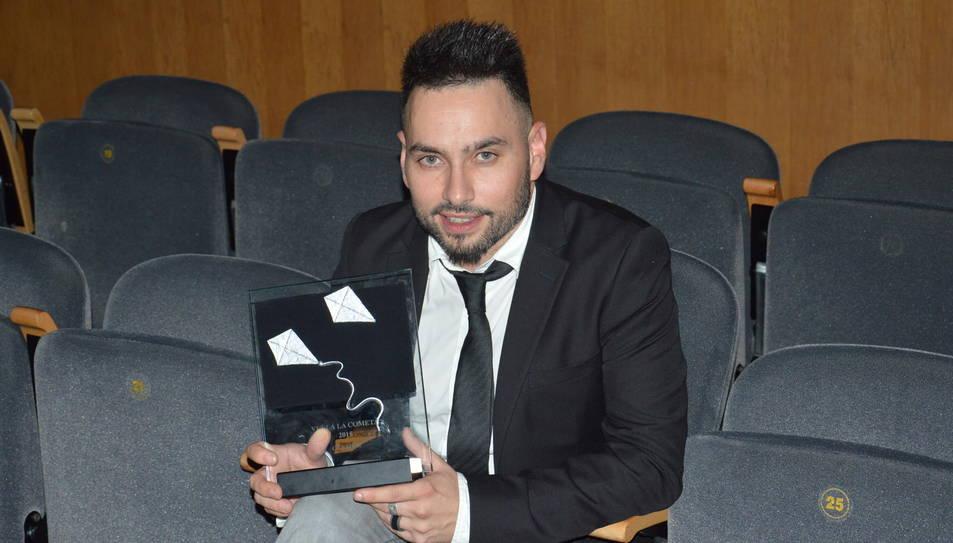 Marcelo García, després de guanyar el premi 'Vuela la Cometa'.