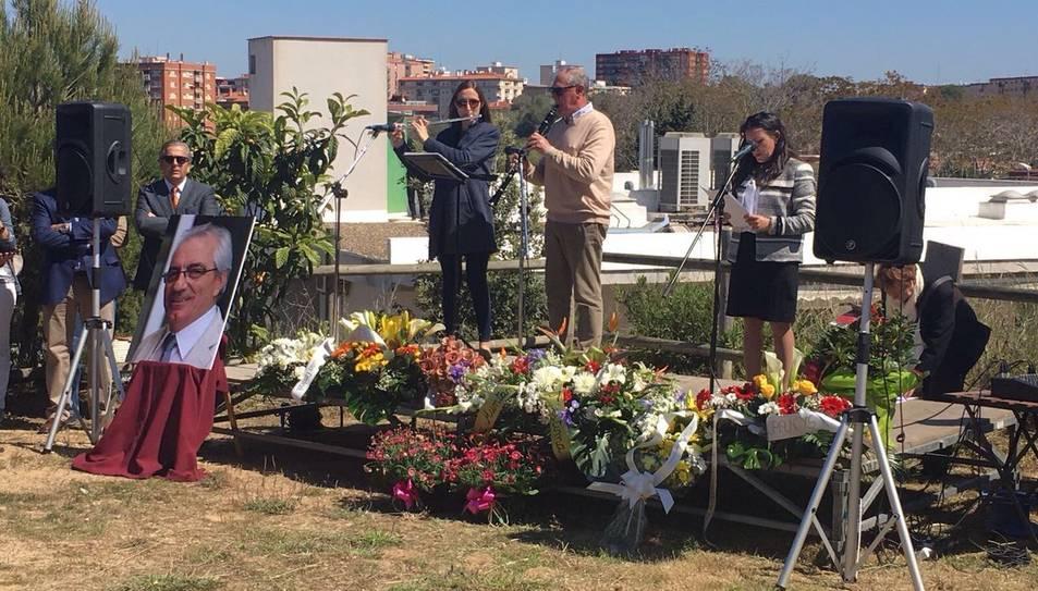 Instant de l'acte en record de Jaume Marí a La Muntanyeta.