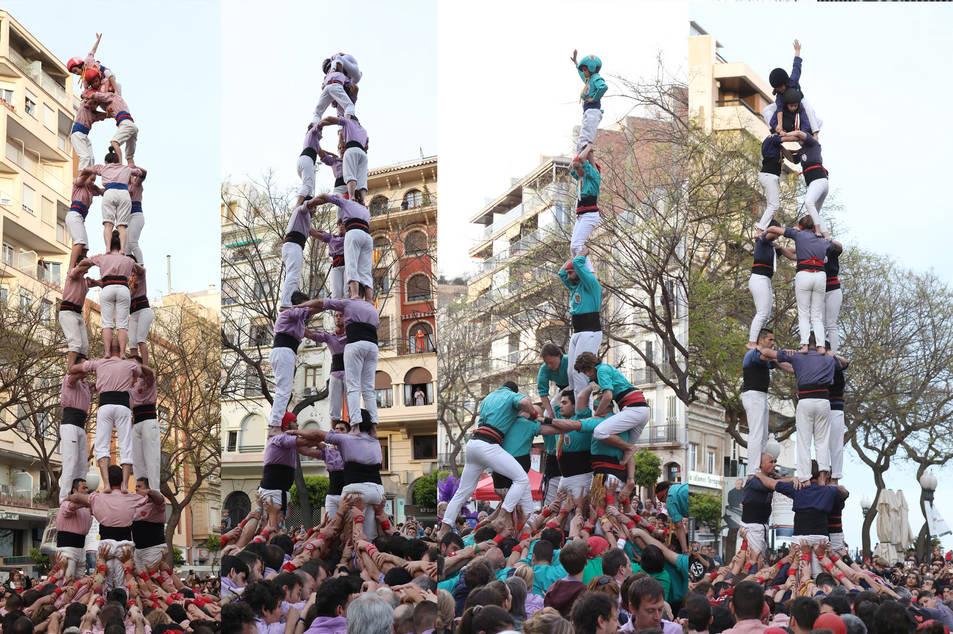 El 3 de 8 dels Xiquets de Tarragona, el 3 de 8 de la Colla Jove, el 3 de 7 amb l'agulla dels Castellers de Sant Pere i Sant Pau i el 3 de 7 dels Xiquets del Serrallo.
