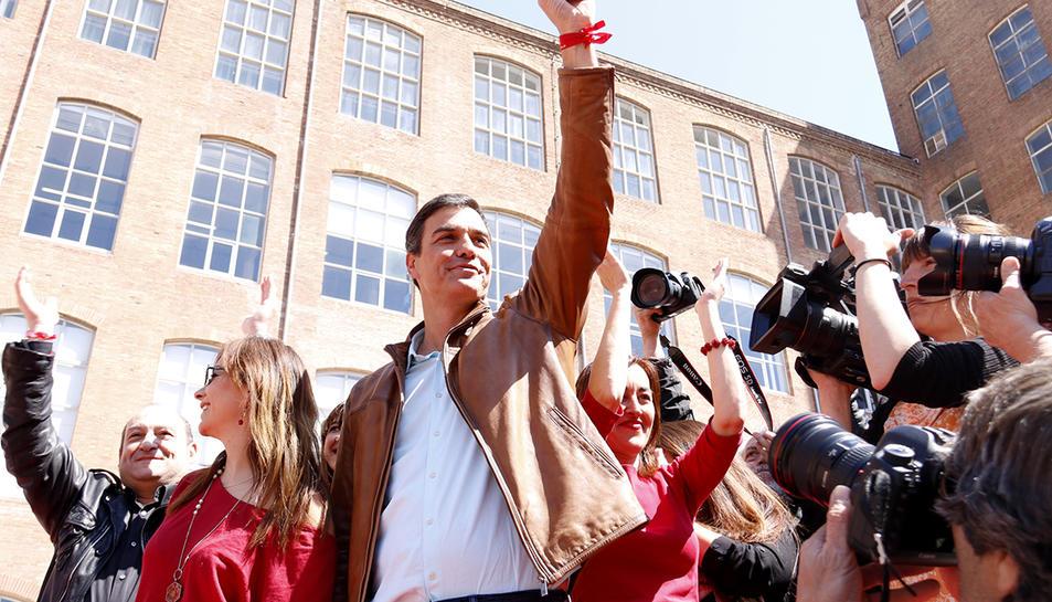 El candidat Pedro Sánchez durant un acte del 22 d'abril a Barcelona.