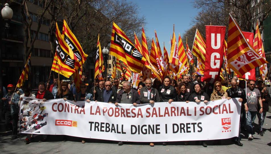 La capçalera de la manifestació de l'1 de maig que Tarragona va acollir el 2016.