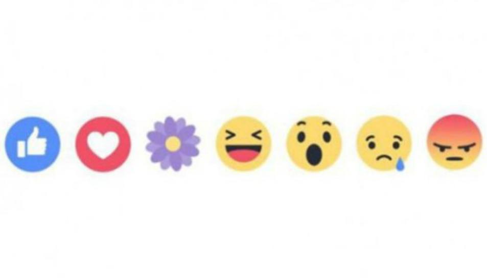 Imatge de les reaccions de Facebook, en la qual hi apareix la nova icona de la flor.