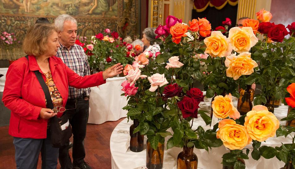 Dos visitants del 70è certamen de roses al Teatre Bartrina, ahir al matí.