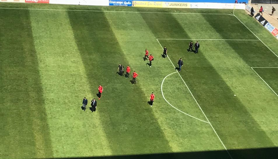 Els jugadors del Nàstic, en arribar al camp.