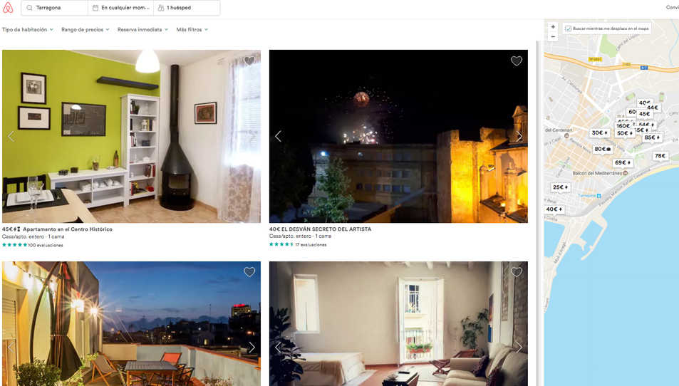 Captura de pantalla del portal web d'Airbnb quan es procedeix a buscar pisos turístics a la ciutat de Tarragona.