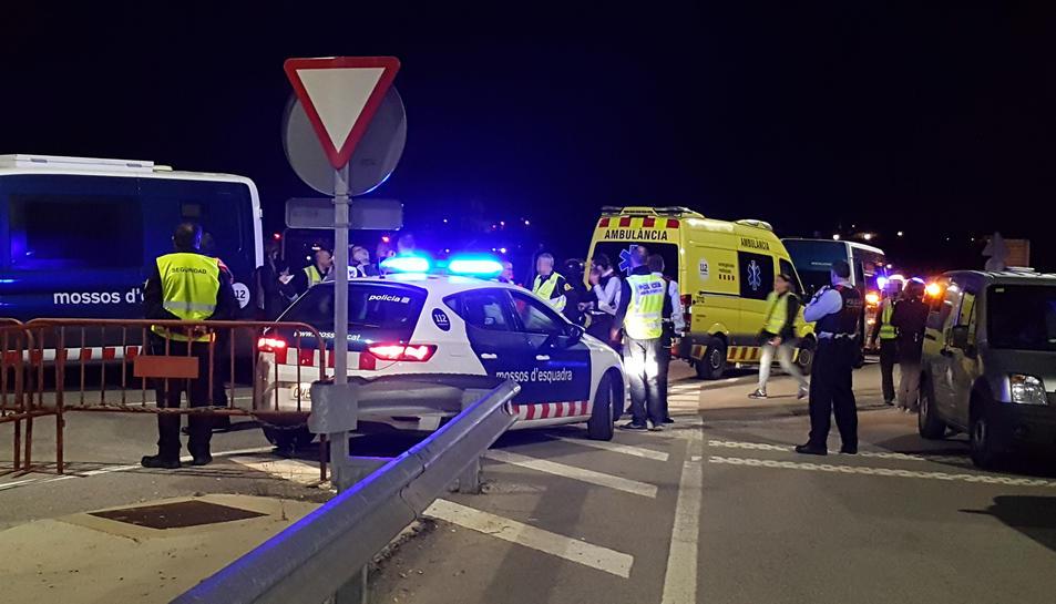 Imatge del simulacre dut a terme a l'estació de l'AVE del Camp de Tarragona la matinada d'aquest divendres.