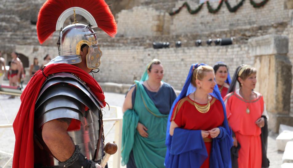 Los gladiadores en el anfiteatro