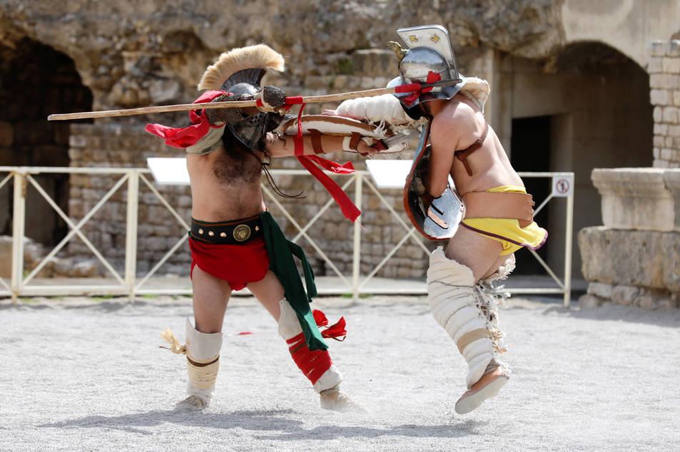 Imatges de la lluita de gladiadors de Tarraco Viva.