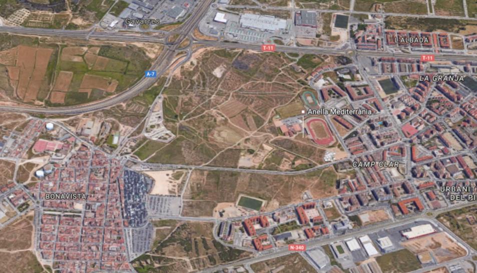 Punt on està previst construir la botiga Ikea i un nou barri, situat entre Campclar i Bonavista.