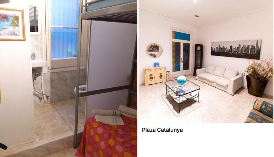 A l'esquerra el pis amb el vàter a l'habitació i a la dreta, l'anunci del que se suposava era una habitació d'hotel.