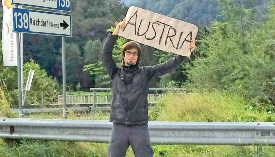 Aleix Ramon arribant a Àustria fent autoestop.